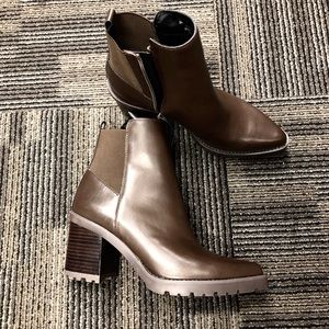 Franco sarto leather booties brown wedge new